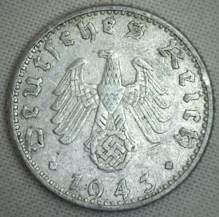 1943 D Aluminum German 50 Reichspfennig Third Reich Nazi Germany Coin Vf P photo