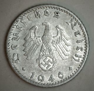 1940 A Aluminum German 5o Reichspfennig Third Reich Nazi Germany Coin Xf photo