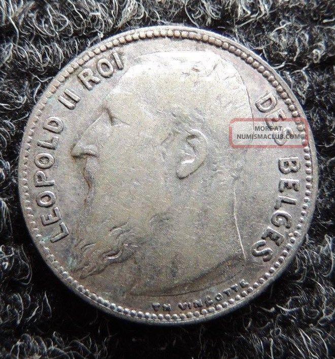 Belgium 1909 Silver 1 Franc { Leopold Ii } Km - 57.  2 Scarce One Europe photo