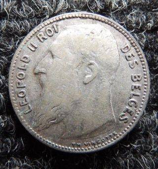 Belgium 1909 Silver 1 Franc { Leopold Ii } Km - 57.  2 Scarce One photo