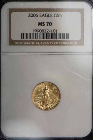 2006 $5 1/10 Oz American Gold Eagle Ngc Certified Ms 70 photo