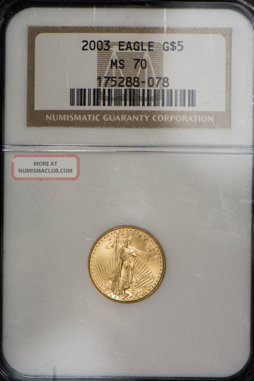 2003 $5 1/10 Oz American Gold Eagle Ngc Certified Ms 70 Gold photo