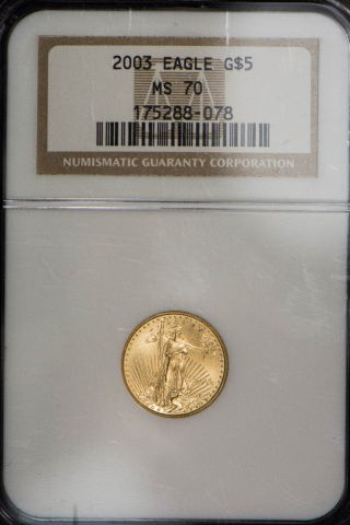 2003 $5 1/10 Oz American Gold Eagle Ngc Certified Ms 70 photo