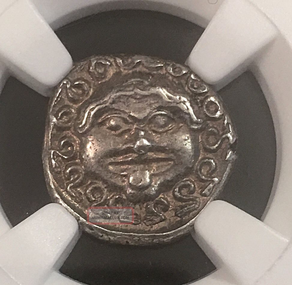 Thrace Gorgon Apollonia Pontica Very Ancient Greek Silver Drachm Ngc Au 3.  3g Coins: Ancient photo
