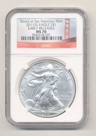 2011 - S Silver Eagle Early Releases Ngc Ms 70 San Francisco Opens @.  99c photo