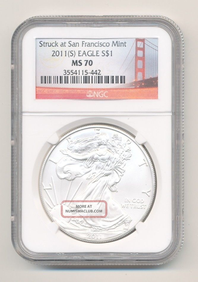 Ngc Ms70 2011 - S American Silver Eagle San Francisco Opens @.  99c Silver photo