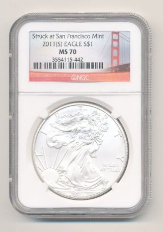Ngc Ms70 2011 - S American Silver Eagle San Francisco Opens @.  99c photo