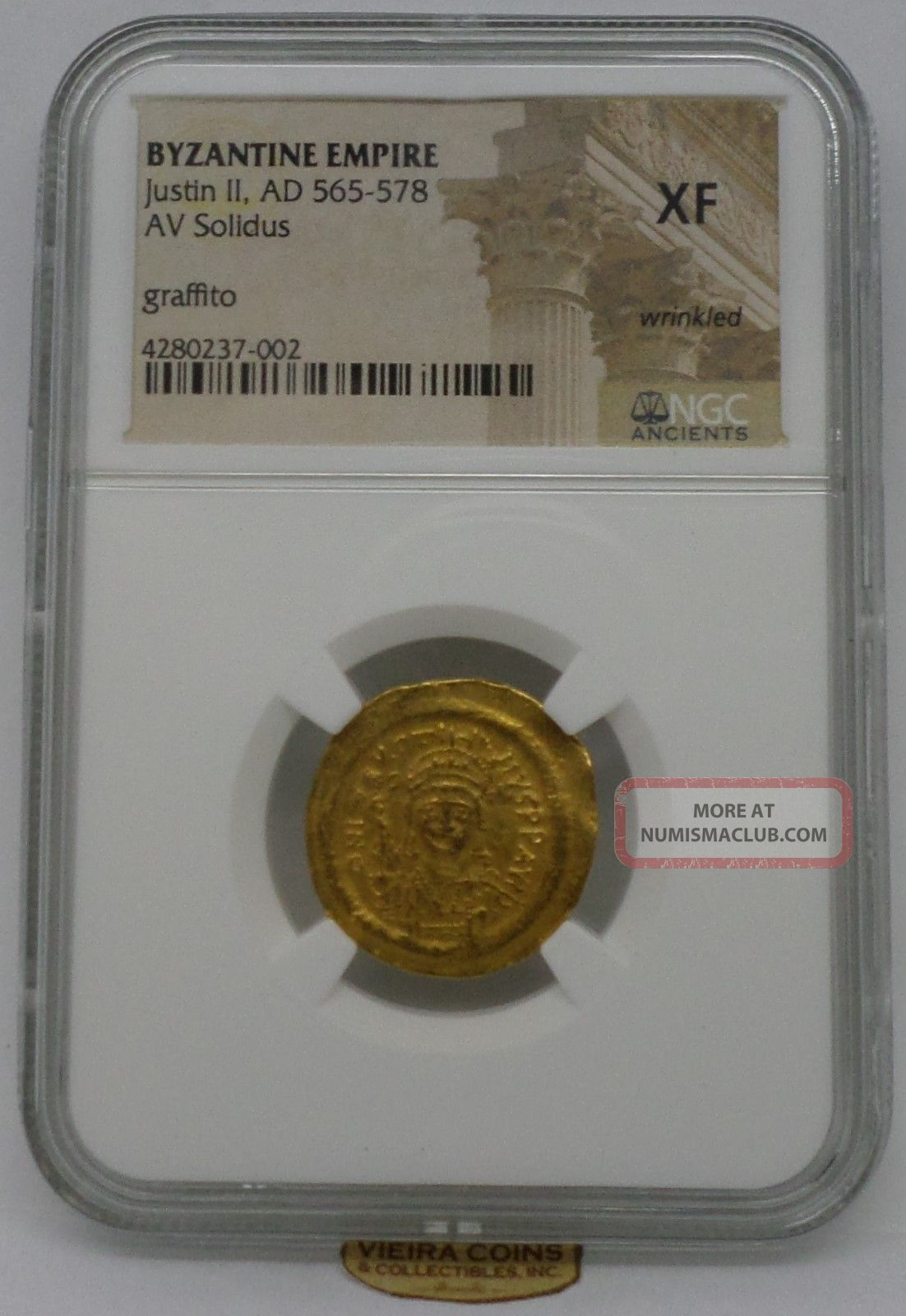 Ad 565 - 578 Byzantine Empire Gold Justin Ii,  Av Solidus,  Ngc Xf Wrinkled - B947 Coins: Ancient photo