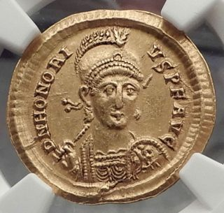 Honorius 397ad Authentic Gold Solidus Ancient Roman Coin Ngc Au I58859 photo