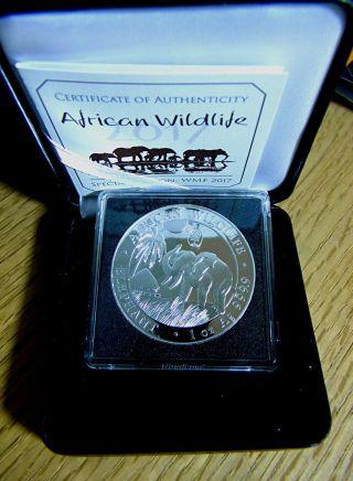 2017 1oz Silver Somalia Elephant Coin,  Only 1000 World Money Fair Privy photo