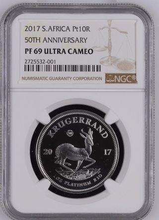 2017 - Platinum - Proof Krugerrand 1oz - Ngc Pf69 Ultra Cameo - 50th Anniv. photo