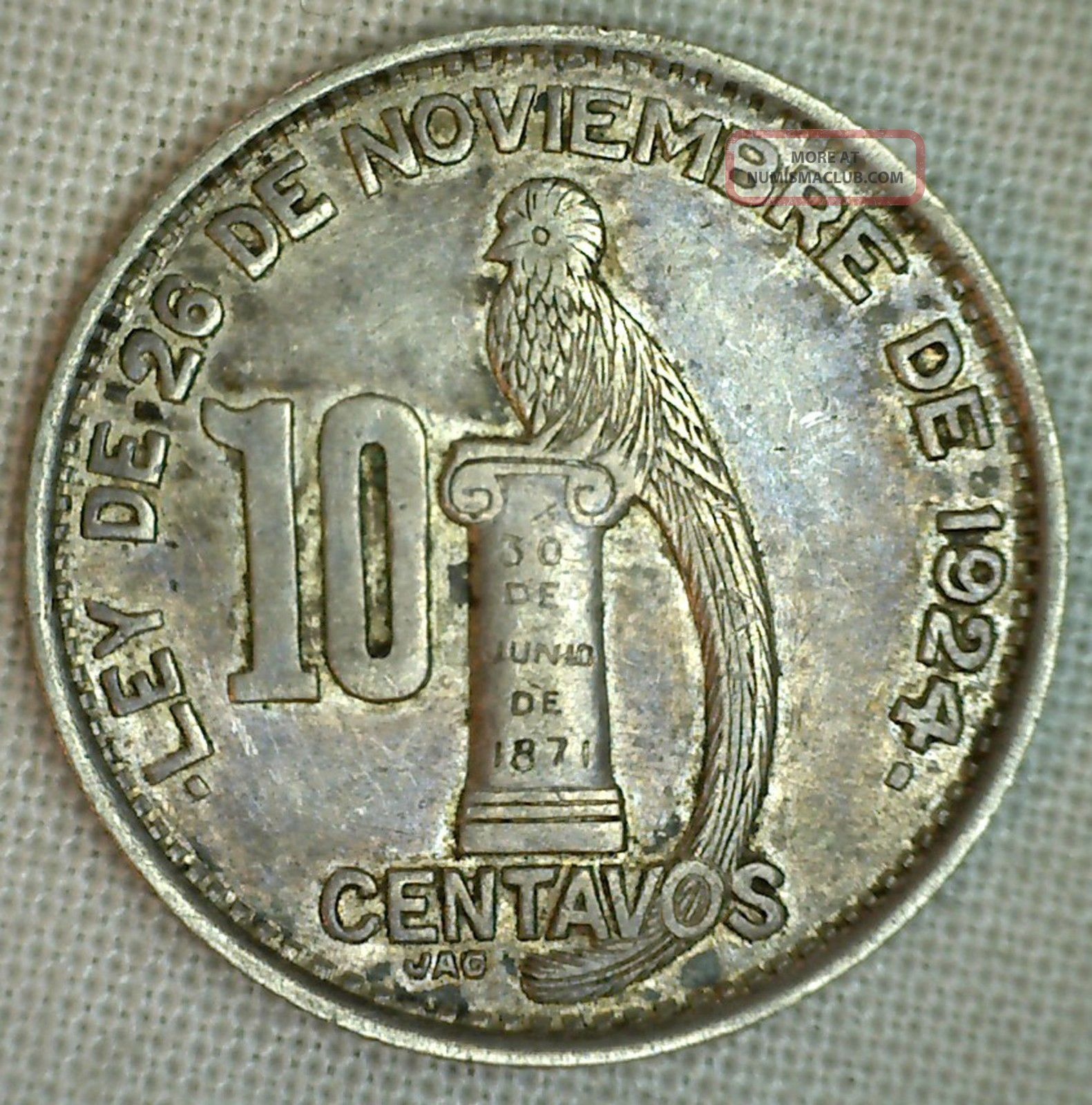 1948 Guatemala Silver 10 Centavos Au Almost Uncirculated 10 Cents Km 239.  1 North & Central America photo