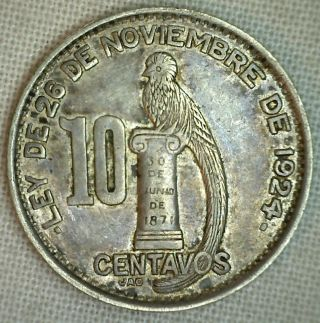 1948 Guatemala Silver 10 Centavos Au Almost Uncirculated 10 Cents Km 239.  1 photo