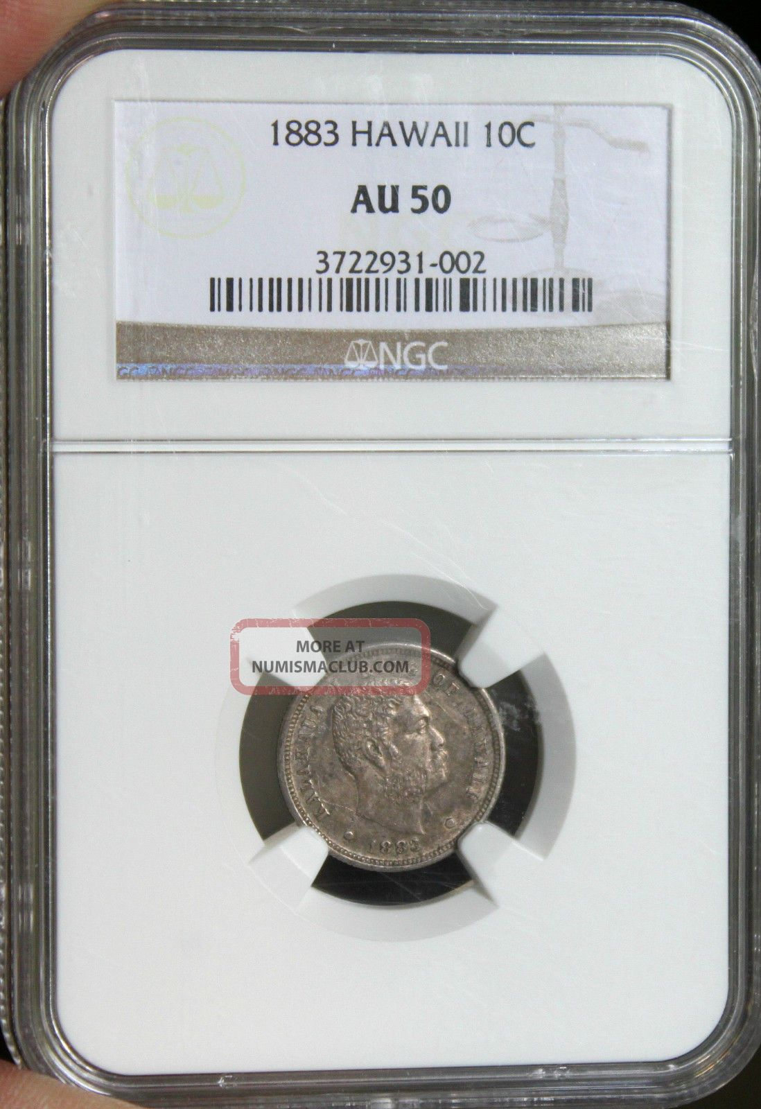☆great Price☆ 1883 Hawaii Kalakaua Dime Ngc Au - 50 Cheapest On Ebay North & Central America photo
