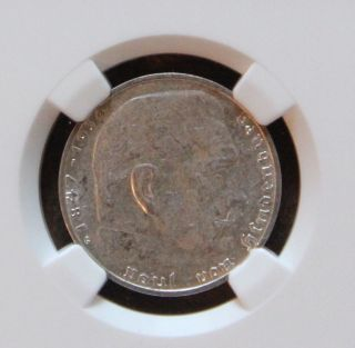 Ngc Au - 53 1939 - G Nazi Germany Two Reichsmark Silver Coin Wwii Third Reich photo