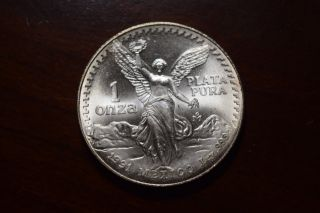 1991 Silver Mexican Libertad 1 Onza Unc photo