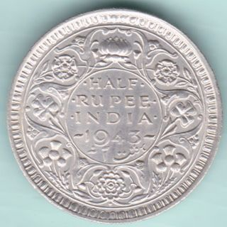 British India - 1943 - King George Vi Emperor - Half Rupee - Rare Silver Coin photo