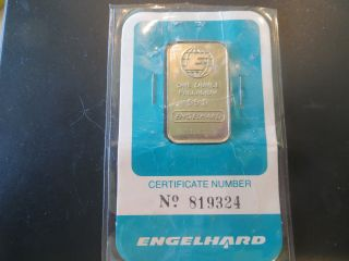 1 Troy Oz Engelhard Palladium Bar.  9995 Fine In Assay Card photo