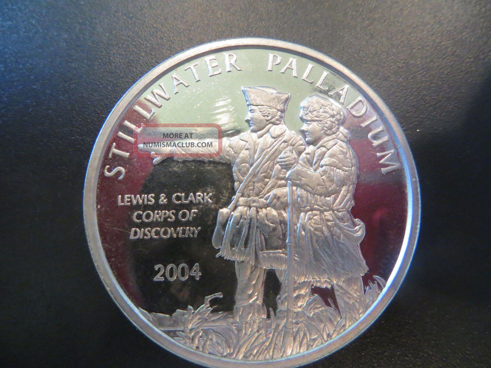 2004 Stillwater Palladium Lewis & Clark 1 Troy Oz Palladium Coin Bullion photo