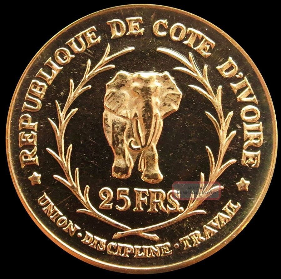 1966 Gold Ivory Coast 25 Francs Elephant Coin Proof Mintage 2,  000 Coins: World photo