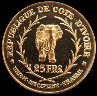 1966 Gold Ivory Coast 25 Francs Elephant Coin Proof Mintage 2,  000 photo