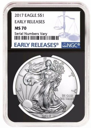 2017 1 Oz Silver American Eagle $1 Coin Ngc Ms 70 Early Release - Retro Black photo