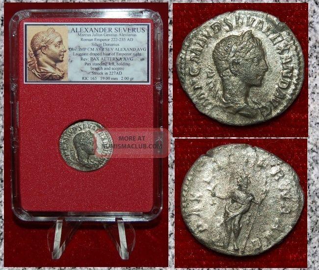 Ancient Roman Empire Coin Alexander Severus Pax With Sceptre Silver Denarius Coins: Ancient photo