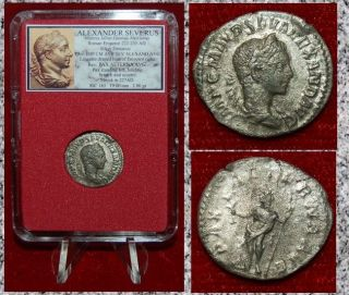 Ancient Roman Empire Coin Alexander Severus Pax With Sceptre Silver Denarius photo