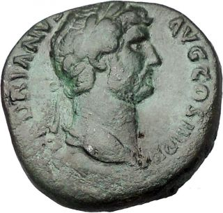 Hadrian 134ad Big Sestertius Ancient Roman Coin Fortuna Luck Cult Wealth I46619 photo