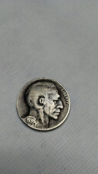 Shaved 1936 Hobo Nickel Art Carved By Harley Kershaw Ohns 5102 photo
