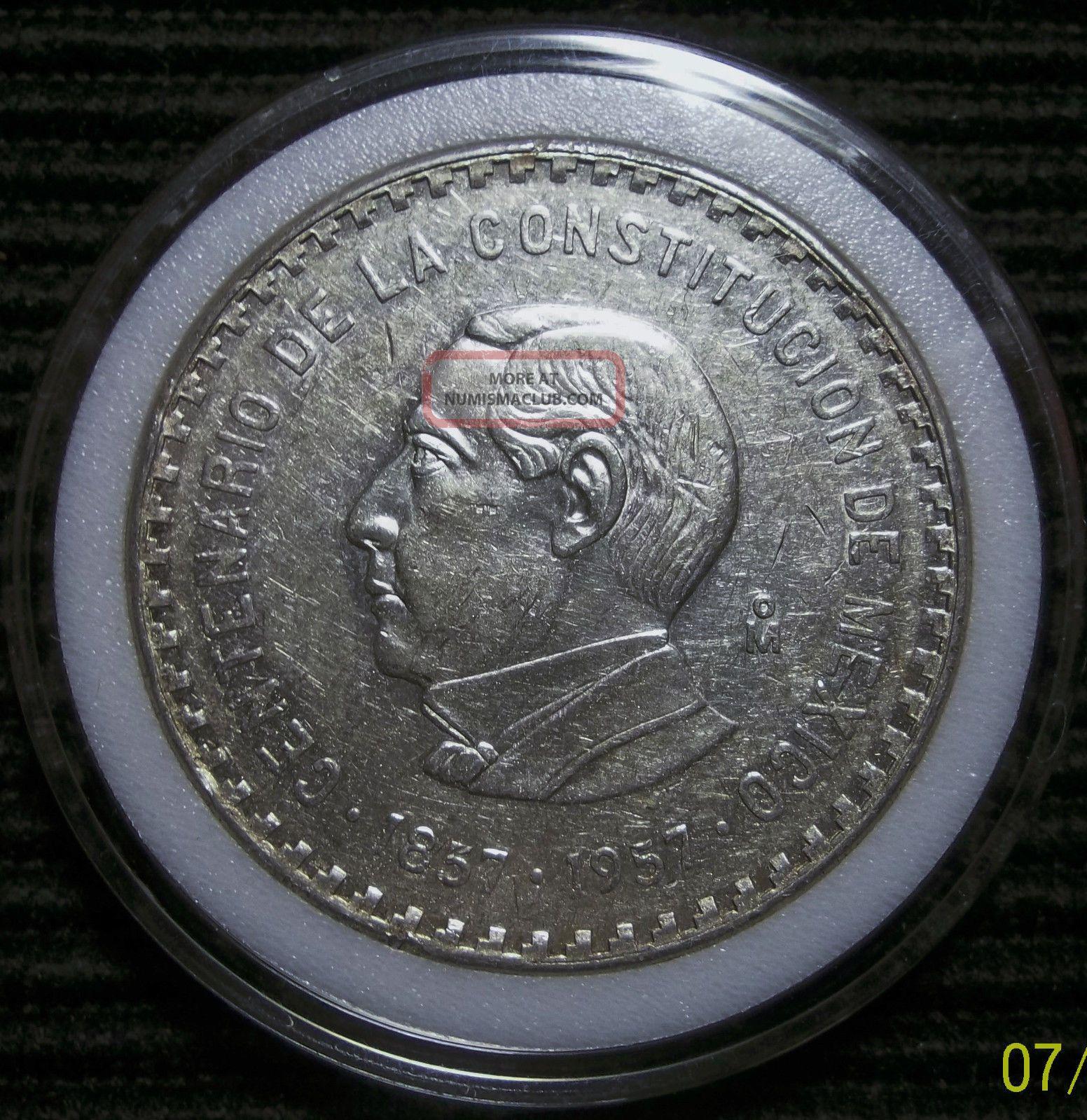 Mexico 1957 Juarez Silver Crown - Diez (10) Pesos Ley.  900 Mexico photo