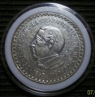 Mexico 1957 Juarez Silver Crown - Diez (10) Pesos Ley.  900 photo