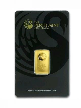 Perth 5 Gram 99.  99 Fine Gold Bar - In Assay Certificate photo