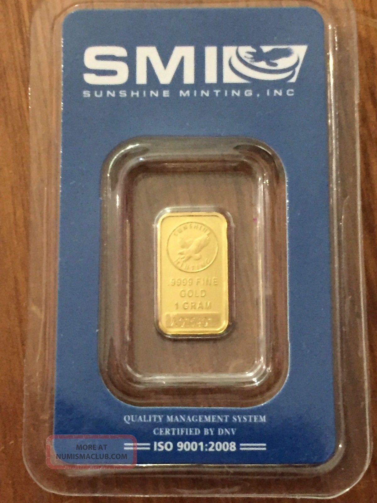 Smi Sunshine Minting 1 G Gold Bar.  9999 Gold photo