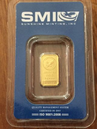 Smi Sunshine Minting 1 G Gold Bar.  9999 photo