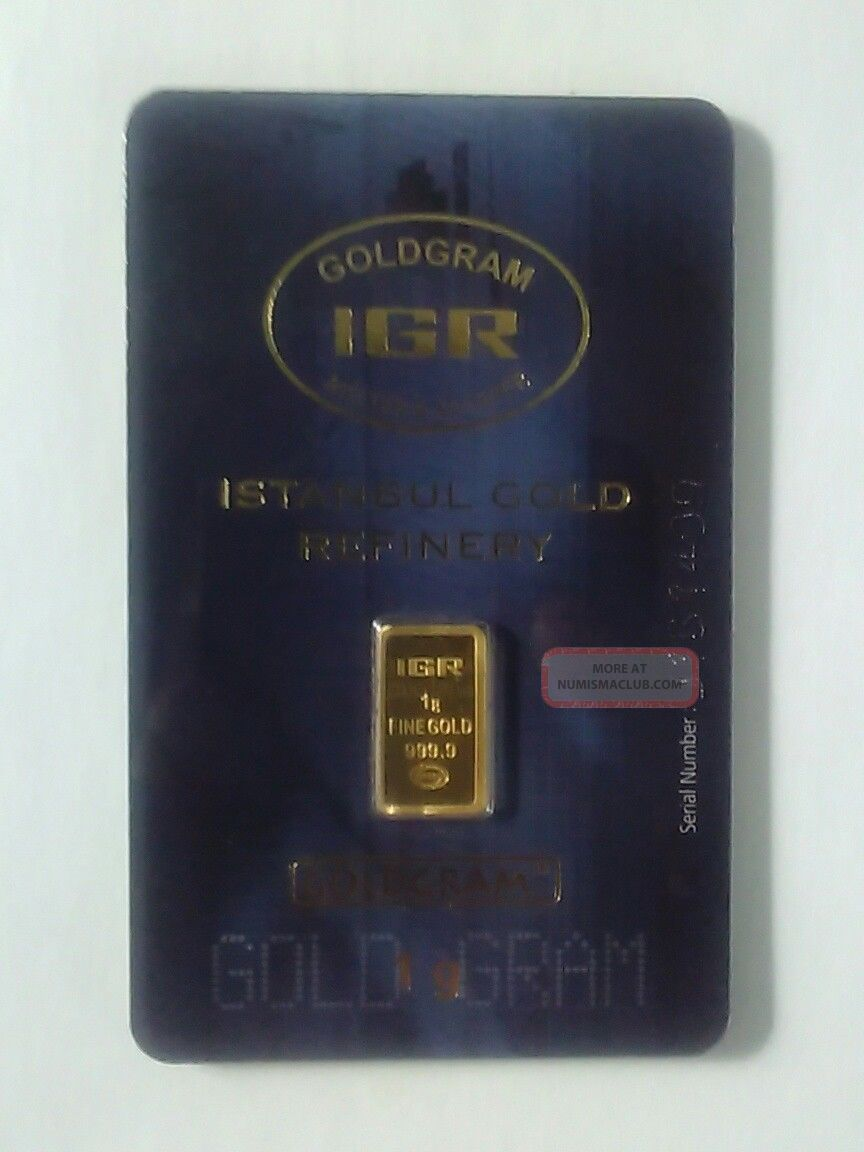 1 Gram 999.  9 24k Gold Bar Istanbul Gold Refinery Igr (in Assay) Bars & Rounds photo