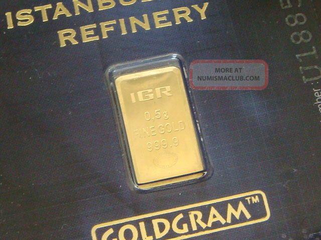 . 999 Gold Gram Igr Istanbul Gold Refinery.  5 Gram Bar In Certificate. Gold photo