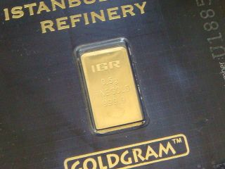 . 999 Gold Gram Igr Istanbul Gold Refinery.  5 Gram Bar In Certificate. photo