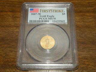 2007 - W $5 American Gold Eagle Pcgs Ms70 First Strike Flag Label photo