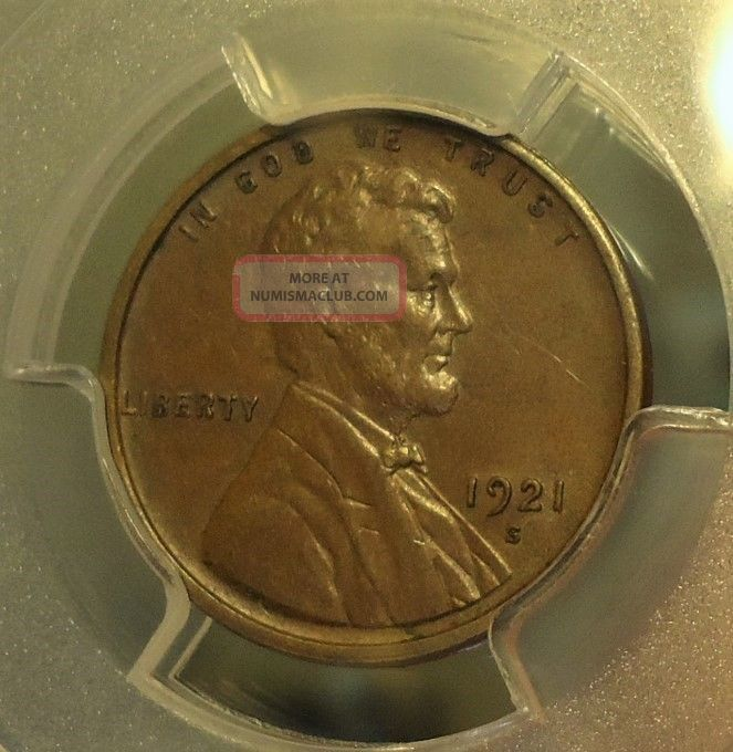 1921 - S Pcgs Au 58 Lincoln Wheat Cent,  Brown,  Listed At $100.  00 Small Cents photo