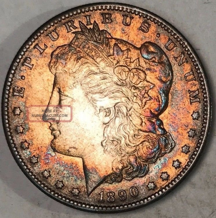 1890 - S Morgan Silver Dollar Multi Color Toned Bu Will Grade Feathers Dollars photo