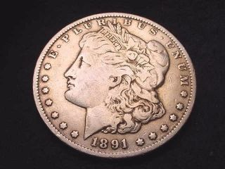 1891 Morgan Dollar Coin - - - 8036 photo