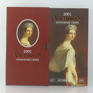 2001 Victorian Anniversary Crown Queen Victoria 5 Pounds Coin In Packaging photo
