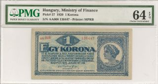 P - 57 1920 1 Korona,  Hungary,  Ministry Of Finance,  Pmg 64epq Finest Known photo