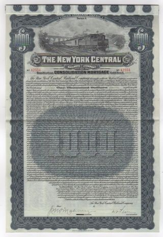 1913 York Central Railroad Company W/55 Coupons photo