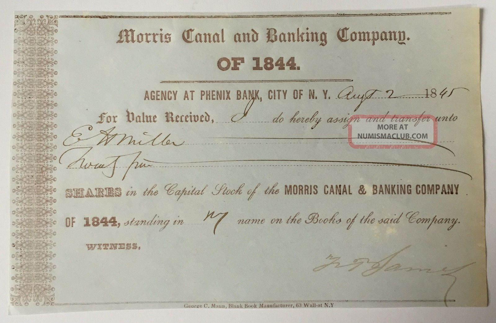1845 Morris Canal & Banking Company Stock Transfer Certificate York/jersey Transportation photo