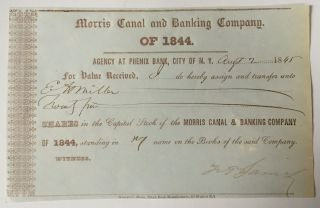 1845 Morris Canal & Banking Company Stock Transfer Certificate York/jersey photo