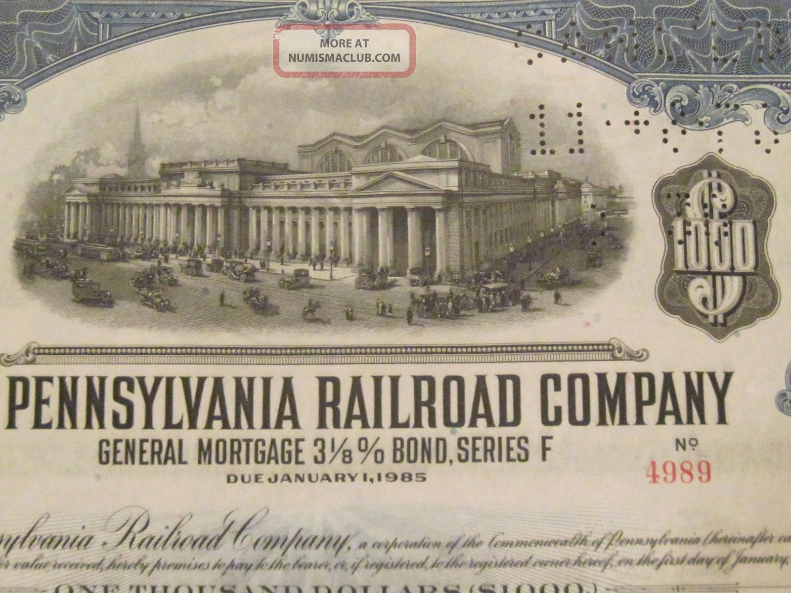 1931 The Pennsylvania Rr Old Canceled Railroad Bond Certificate Monopoly Coupons Transportation photo