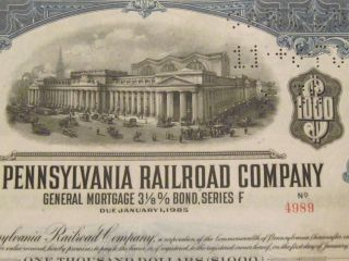 1931 The Pennsylvania Rr Old Canceled Railroad Bond Certificate Monopoly Coupons photo