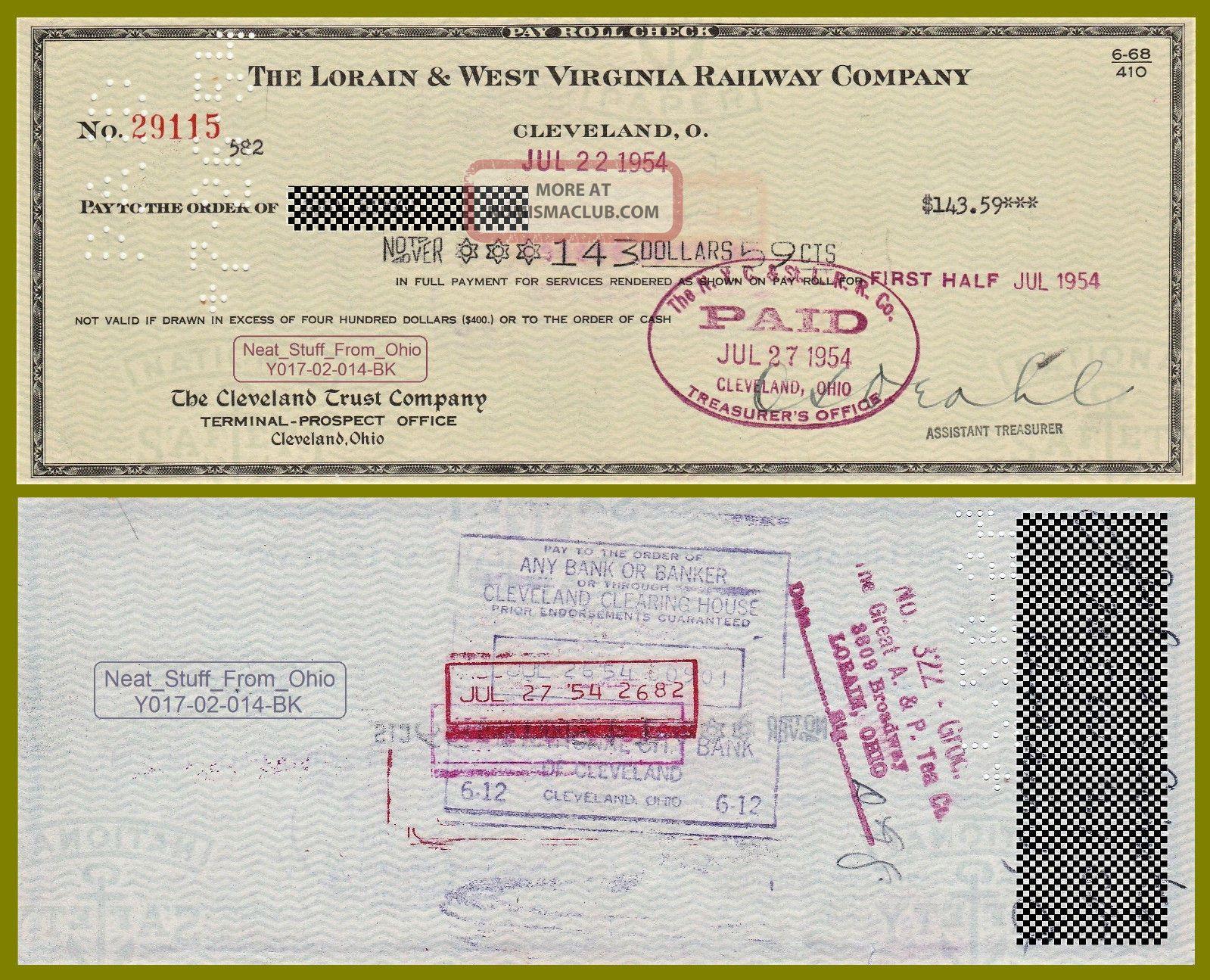 Lorain & West Virginia Railway Company - 1954 Employee Paycheck - Item Transportation photo
